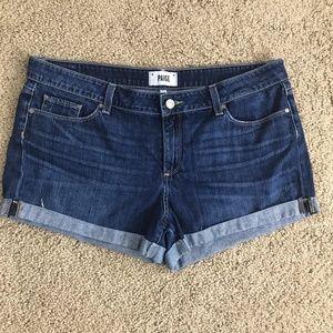 Paige Jimmy Jimmy Dark Denim Jean Cuffed Shorts 32